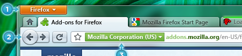 Comparison of Firefox 3.5 and 4.0 interface mockup