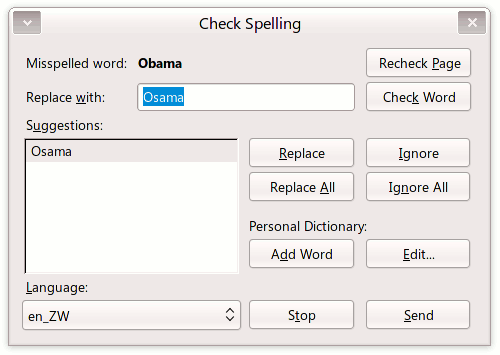 Thunderbird spell checking screenshot: Did you mean Osama?