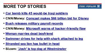 Screenshot of CNN top stories