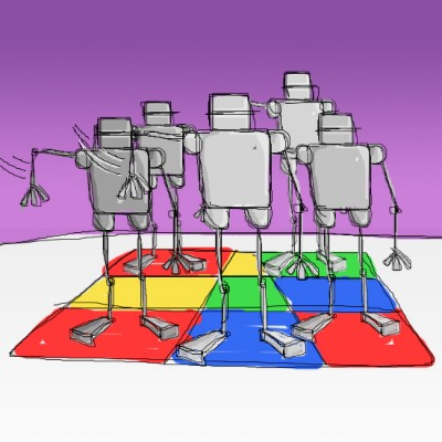 Robot Dance Crew - an illustration by Geoff Gibson